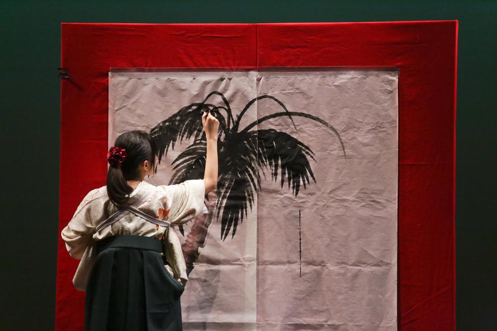 水墨画実演・椰子の木